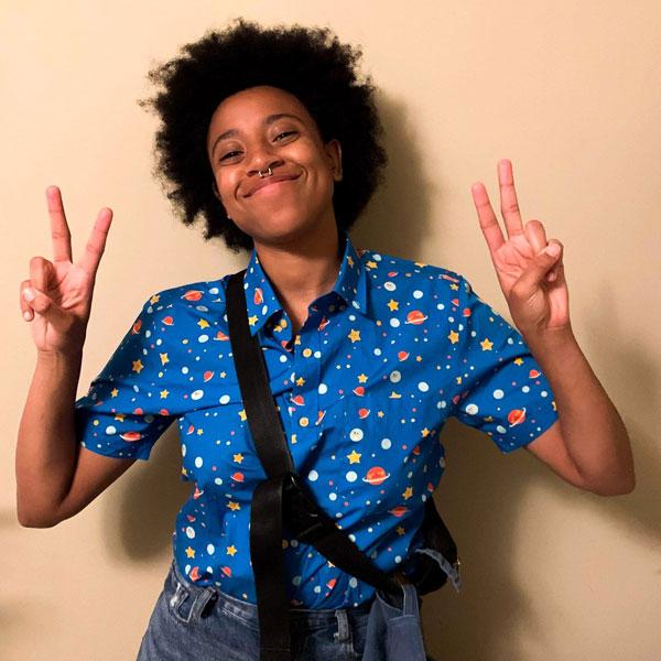 kawaii space button up shirt