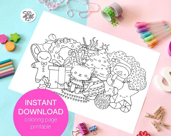 Printable Holiday Coloring Pages Super Cute Kawaii