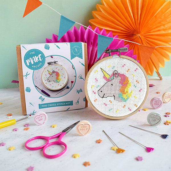 unicorn mini cross stitch kit
