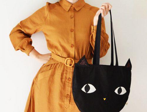 kawaii black cat tote bag