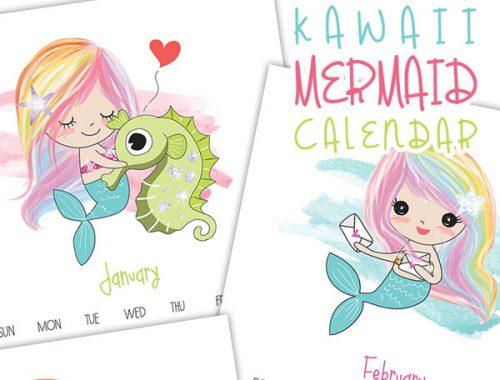 2018 Printable Calendar - kawaii mermaids